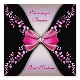 Rosados y negros elegantes invitan con el arco del comunicados personales