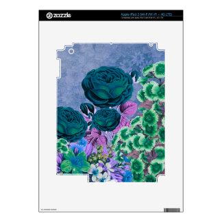 Rosaleda del vintage de las azules turquesas iPad 3 pegatinas skins