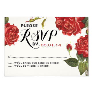 """Rosaleda del vintage que casa RSVP Invitación 3.5"""" X 5"""""""