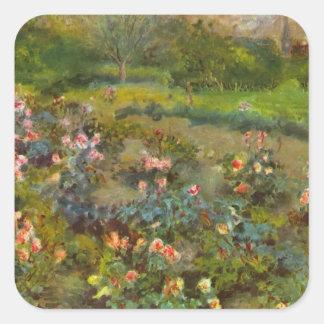 Rosaleda por el arte impresionista hermoso de pegatinas cuadradas personalizadas