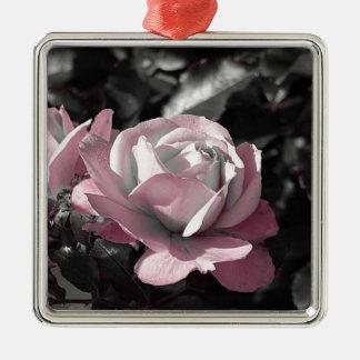 Rosaleda rosada adorno navideño cuadrado de metal