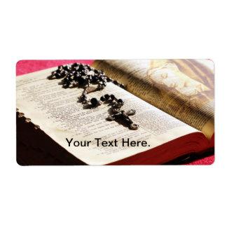 Rosario bendecido de la biblia del Virgen María Etiquetas De Envío