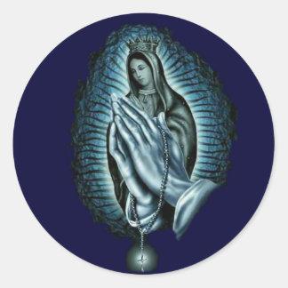 Rosario bendecido del rezo del Virgen María Etiquetas Redondas