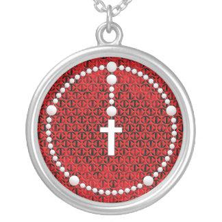 Rosario con el modelo de la cruz del hierro collar plateado