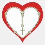 Rosario del rosa blanco pegatina en forma de corazón