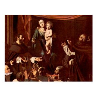 Rosario Madonna por Caravaggio Postal