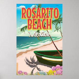 Rosarito Beach Mexican travel poster