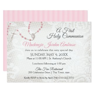 Rosary and Lace First Communion Pink Invitation