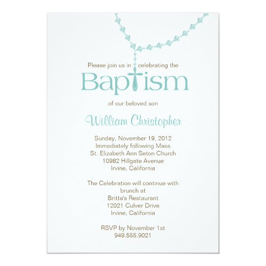Rosary Beads Baptism Invitation for Boy | Zazzle