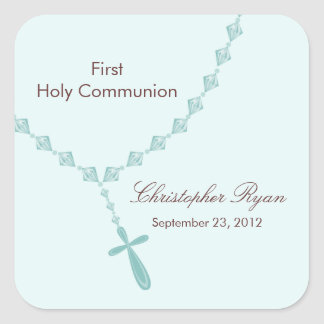 Rosary Beads First Holy Communion Boy Blue Square Sticker