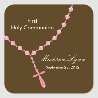 Rosary Beads First Holy Communion Pink Brown Square Sticker