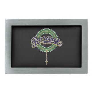 Rosary Circle Script Logo Blue on Green Belt Buckle