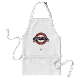 Rosary Circle Script Logo Blue on Red Adult Apron