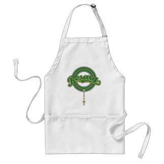 Rosary Circle Script Logo Green on Green Adult Apron
