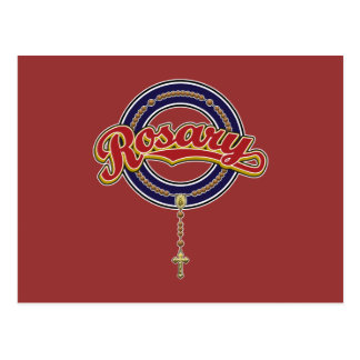 Rosary Circle Script Logo Red on Blue Postcard