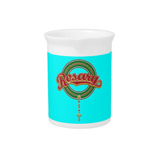 Rosary Circle Script Logo Red on Green Beverage Pitcher