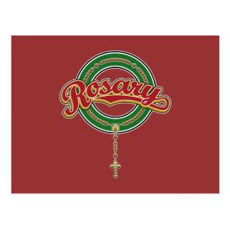 Rosary Circle Script Logo Red on Green Postcard