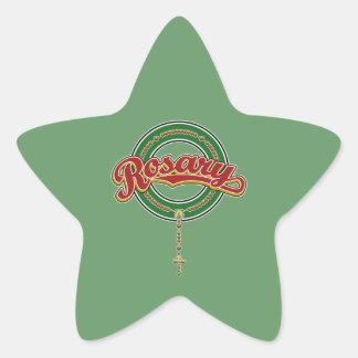 Rosary Circle Script Logo Red on Green Star Sticker