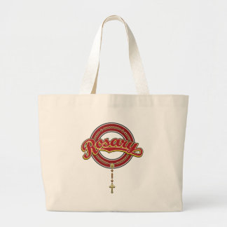 Rosary Circle Script Logo Red on Red Bags