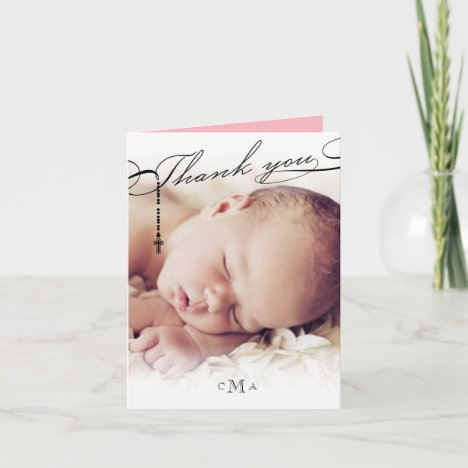 Rosary Cross Monogram Scripted Photo Religious Thank You Card
