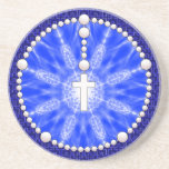 Rosary Dream Catcher Blue Beverage Coaster