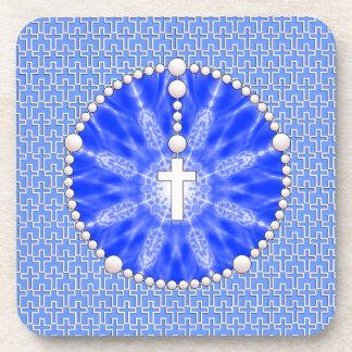 Rosary Dream Catcher Blue Beverage Coaster