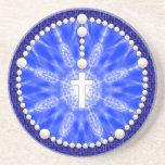 Rosary Dream Catcher Blue Drink Coaster