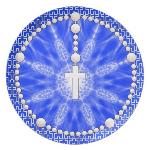 Rosary Dream Catcher Blue Plate