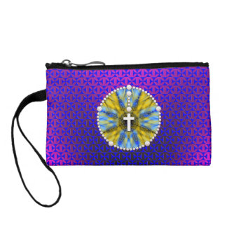 Rosary Dream Catcher Blue & Yellow Coin Wallet