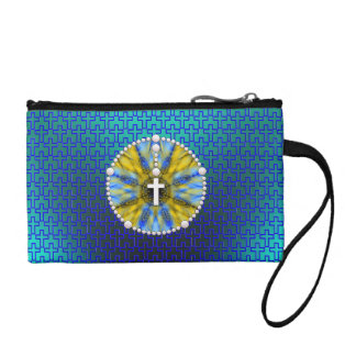 Rosary Dream Catcher Blue & Yellow Change Purses