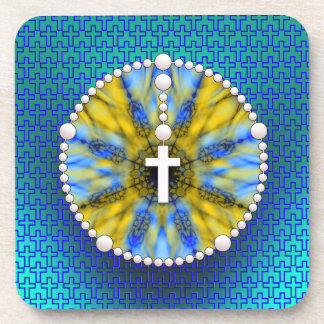 Rosary Dream Catcher Blue & Yellow Beverage Coaster