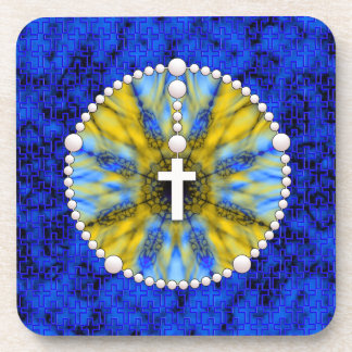 Rosary Dream Catcher Blue & Yellow Coaster