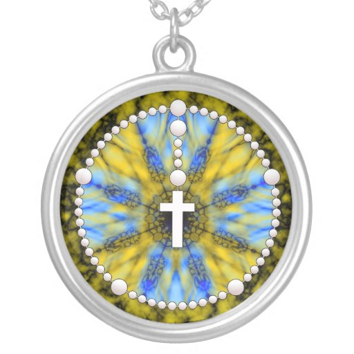 Rosary Dream Catcher Blue & Yellow Custom Necklace