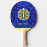 Rosary Dream Catcher Blue & Yellow Ping Pong Paddle