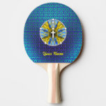 Rosary Dream Catcher Blue & Yellow Ping-Pong Paddle