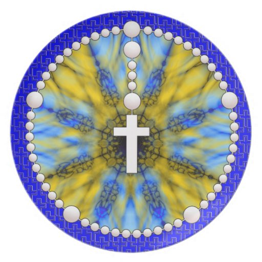 Rosary Dream Catcher Blue & Yellow Melamine Plate