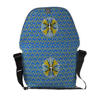 Rosary Dream Catcher Blue & Yellow Commuter Bag