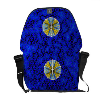 Rosary Dream Catcher Blue & Yellow Courier Bag