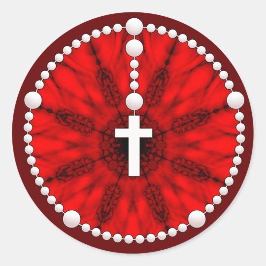 Rosary Dream Catcher Red Classic Round Sticker
