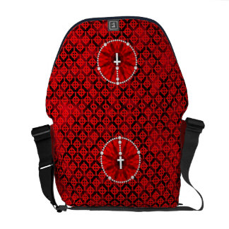 Rosary Dream Catcher Red Courier Bags