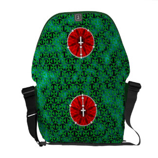Rosary Dream Catcher Red Messenger Bags