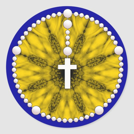 Rosary Dream Catcher Yellow Classic Round Sticker
