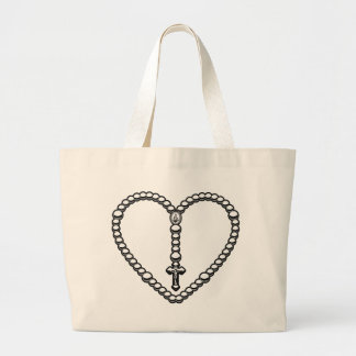 Rosary Heart Black and White Tote Bags