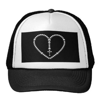 Rosary Heart Black and White Mesh Hat