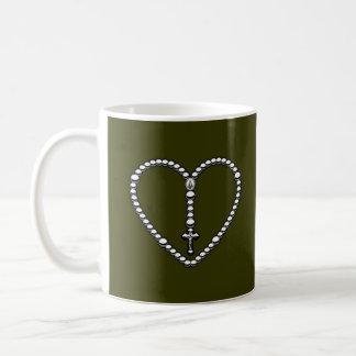 Rosary Heart Black and White Mug