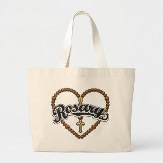 Rosary Heart Black Logo Bag