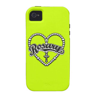 Rosary Heart Black Logo on Black Beads Case-Mate iPhone 4 Cases