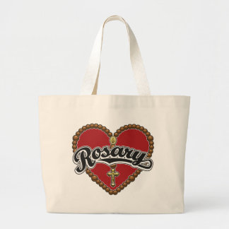 Rosary Heart Black Logo on Red Background Tote Bag