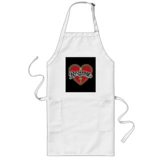 Rosary Heart Black Logo on Red Background Long Apron