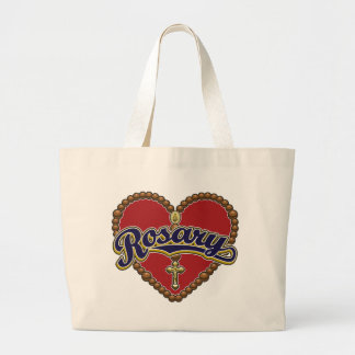 Rosary Heart Blue Logo on Red Background Bags